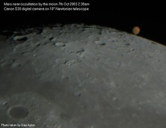 "Mars near occultation at its closest encounter with earth • <a style=""font-size:0.8em;"" href=""http://www.flickr.com/photos/44919156@N00/7890618934/"" target=""_blank"">View on Flickr</a>"