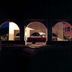 (patrickjoust) Tags: auto street city bridge urban usa color 120 6x6 tlr film nig