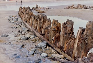 Wooden ship on Tramore Beach