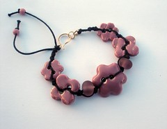 Cherry Blossom bracelet (Leah C.) Tags: pink black flower art ceramic cherry gold handmade filled button bracelet bead lampwork macrame glazed blosson