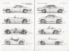 IDC Pickup Truck and Convertible Page 2 (Flaf) Tags: cars pencil munich mnchen mercedes fiat drawing sketchbook triumph xjs jaguar florian draw 500 mga tr6 freie daihatsu copen idc vignale w111 190sl flaf moncaco xc120 afflerbach zeichnerei idrawcars