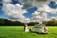 Kiss Me (ingephotography) Tags: auto blue wedding sky cloud holland green netherlands dutch grass car clouds contrast groom bride saturated scenery kiss kissing zoen groen skies colours bright nederland wolken gras lucht nederlands blauwe hollands landschap kus wolk bruiloft kleuren kussen bruid bruidegom zoenen heldere