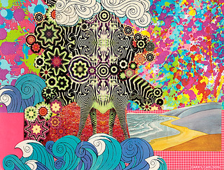 LARRY CARLSON, Zebra Zhores, collage on paper, 12x10in., 2012.