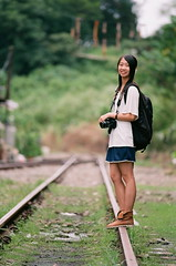 Fanny on Rail (You don't need to zoom.) Tags: portrait film girl station asian taiwan     jingtong  nikonfm3a     kodakektar100  nikkoraised180mmf28
