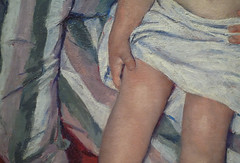 Cassatt, The Child's Bath, detail of knees and hand