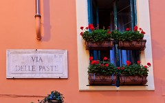 Do you Love Pasta? The Pasta Road, Rome Italy (Maria_Globetrotter) Tags: road street italien pink italy rome roma sign design paste capital rosa pasta via rom  delle   romeroma fenester viadellepaste itali