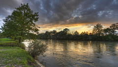 Sunset at Reuss (Daniel J. Mueller) Tags: sunset tree water clouds forest river landscape schweiz switzerland wasser sonnenuntergang wolken fluss landschaft wald baum hdr reuss rickenbach kantonzrich cantonofzurich ottenbach d800e