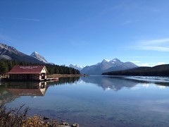 Hi from Maligne Lake in the Canadian Rockies (peggyhr) Tags: blue autumn trees red brown sunlight white canada mountains water reflections shadows canoe alberta ripples boathouse malignelake canadianrockies thegalaxy appleiphone peggyhr thebestshot thegalaxyhalloffame