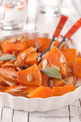 Baked pumpkin (Oxana Denezhkina) Tags: vertical dinner pumpkin lunch healthy cinnamon fork nobody bowl vegetable sage eat health salvia bake baked gastronomy ingredient