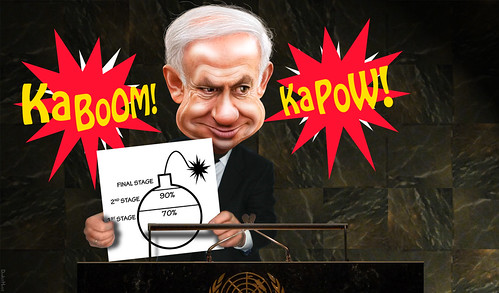 Bibi Shows Cartoon of Mass Destruction t by DonkeyHotey, on Flickr