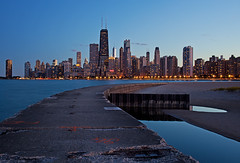 (Kevin Dickert) Tags: city sunset urban chicago skyline architecture night downtown lakemichigan bluehour gettyimages northavenuebeach canon35mmf14l iamhydrogen