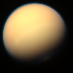 Gigantic Titan (Val Klavans) Tags: cloud moon color composite clouds solar haze image atmosphere science system september nasa val filter planet mission astronomy planetary 28 saturn titan rgb ssi jpl valerie huygens cassini 2012 flyby methane astrobiology t86 klavans rev172