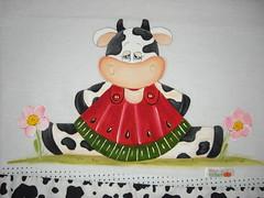 Pano de prato Vaquinha (Pintura em tecido. Panos de prato.) Tags: pinturacountry panosdeprato