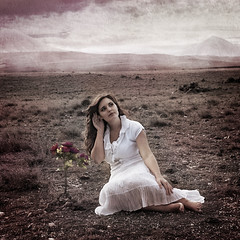 Flower Whisperer (LauraBallesteros) Tags: flowers portrait woman cloud naturaleza mountain mountains flores flower texture textura nature girl clouds mujer chica retrato flor dream listening sueos nubes dreams express
