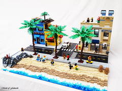 Downtown Venice FL. (Mark of Falworth) Tags: ocean road city venice sea building tree beach town lego florida palm palmtrees fl