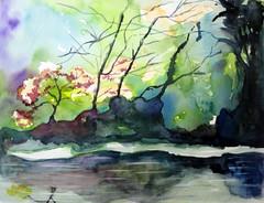 Imaginary landscape, by Vnia (Dona Mincia) Tags: sky tree art water rio gua river watercolor painting paisagem cu rvore aquarela laggon imaginarylandscape