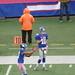 Eli Manning and Dominik Hixon warm up