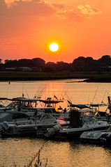Town River Bay sunset (alohadave) Tags: bay massachusetts northamerica pentaxk5 places puffyclouds quincy sky sunset townriverbay townriveryachtclub unitedstates water smcpda60250mmf4edifsdm
