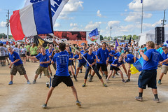 Lincoln High School 2016 State Fair Band Day (WayNet.org) Tags: bandday cambridgecity france french goldeneagles indiana indianastatefair indianapolis lhs lincoln statefair band colorguard flag grandstand marchingband track