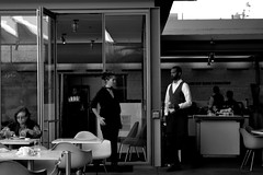 collide (diegosevillaphoto) Tags: bw lacma peopl people restaurant servers waitress