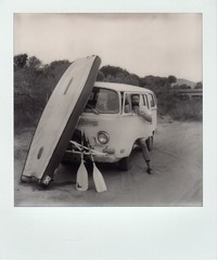 Chad boat, bus and oars (EllenJo) Tags: sx70 impossibleproject instantfilm bw blackandwhite polaroid clarkdalearizona verderiver verdevalley ellenjoroberts ellenjo september september19 polaroidsx70 theimpossibleproject instant 2016 chad bus 1972volkswagen 1972vw bwvw van type2 tuzirap