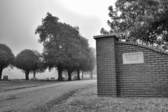 Walnut Hill (slammerking) Tags: cemetery kingmanks graveyard fence trees fog foggy brick bricks spooky creepy