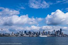 Seattle from Puget Sound (www.chriskench.photography) Tags: washington travel washingtonstate america 18135 unitedstates vacation kenchie usa seattle fujifilm cityscape