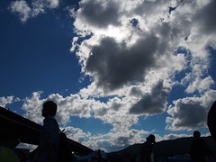 The sun gets behind clouds. (murozo) Tags: omonogawa river omagari daisen akita japan cloud sun blue sky bridge riverbed silhouette