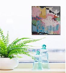 #1398 (sariart2) Tags: original ooak acrylic collage painting square small mini 10x10 modern abstract art sari noy azaria pink white blue