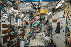 iss049e000760 (NASA Johnson) Tags: kate rubins nasa astronaut spacesuit cancer awareness md anderson destiny colorful