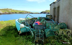 Aqua beauty waiting for her next adventure (mootzie) Tags: fern boat creels buoys nets aqua fishing lobsters crabs harris shed ropes sky blue sea hills green knots scotland