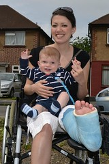 mumoncrutches_me-and-joshua-in-the-wheelchair (cb_777a) Tags: broken leg ankle foot cast crutches toes england
