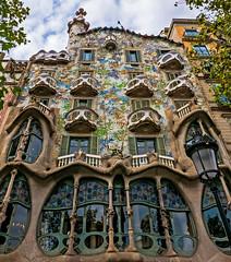 Antoni Gaudi's Casa Batllo Building (2) (Barcelona Spain) (Panasonic Lumix LX100 Compact) (markdbaynham) Tags: barcelona city spain spainish espana espanol urban metropolis historic famous anton gaudi building casa batllo ornate design catalan panasonic dmc lumix lumixer lx100 dmclx100 compact 2475mm f1728