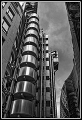 Lloyd's Building with Gherkin in background. (jim_2wilson) Tags: wideangle bw lloydsbuilding lloydsoflondon jimwilson hdr photomatixproversion505 dxoopticspro architecture london sonya99 minolta1735mmf284