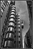 Lloyd's Building with Gherkin in background. (jim_2wilson) Tags: wideangle bw lloydsbuilding lloydsoflondon jimwilson hdr photomatixproversion505 dxoopticspro architecture london sonya99 minolta1735mmf284 ppb698