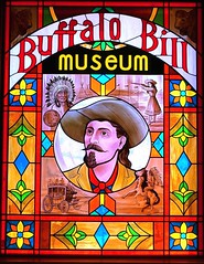Stained glass window at the Buffalo Bill Museum on Lookout Mountain, Colorado (lhboudreau) Tags: buffalobill buffalobillmuseum museum lookoutmountain colorado usa williamfcody williamfbuffalobillcody cody buffalobillcody cowboyhat beard mustache stainedglass window portrait vignettes indian stagecoach annieoakley