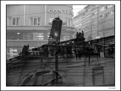 Continental (frode skjold) Tags: oslo stortingsgata double norway norge fujifilmx20 photoshop14 blackwhite bw monochrome doubleexposure narvesen urban