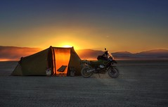 A tent, a motorcycle, and a sunset on the playa (PeterThoeny) Tags: blackrockdesert sun sunset goldenhour desert lakebed playa nevada camp tent motocycle silhouette balls hdr 1xp raw nex6 sel50f18 photomatix outdoor qualityhdr qualityhdrphotography sky dusk fav200