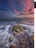 Sundown (juandiegojr) Tags: blue sunset red sea sky españa verde beach water azul clouds atardecer mar spain sand agua rocks playa paisaje andalucia arena cielo nubes verano malaga rocas juandiegojr juandiegojrcom nikkor1424mmƒ28gedafs nikond800e