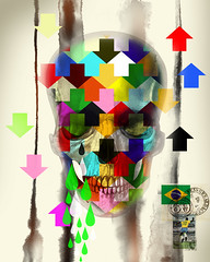Rumos, alegrias e tristezas , idas e vindas , assim  a vida . (.  F L F  .) Tags: brazil color eye art halloween colors brasil illustration cores dead skeleton death graffiti design pattern arte graphic designer surrealism acid ghost optical dia pop textures morte andywarhol diadelosmuertos muertos crown alegria arrow psychedelic tatoo seta caveira ilustration fantasma skeletal desenho nigth deus grafite muerto tatuagem aquarela surrealismo ossada osso crnio psicodlico padronagem artpop cranio franciscofreitas