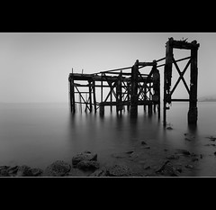 Coastal Erosion (Billy Currie) Tags: wood white mist black water metal fog mono coast scotland pier wooden fife decay jetty tide ruin structure estuary forth coastal ng tidal minimalist peir moorning
