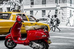 Red and Yellow NYC (SCameron87) Tags: street city nyc red urban newyork yellow vespa cab taxi scooter moped