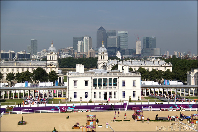Backdrop to Greenwich Park Equestrian Arena - The Queen's House, University of Greenwich and Canary Wharf