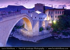Bosnia & Herzegovina - Mostar on Neretva River - Old Bridge Area of the Old City of Mostar - UNESCO World Heritage site ( Lucie Debelkova / www.luciedebelkova.com) Tags: world longexposure trip travel light vacation holiday tourism beautiful night wonderful dawn lights evening nice fantastic twilight lowlight perfect europe tour place dusk bosnia awesome sightseeing illumination visit location tourist best illuminated nighttime journey stunning destination bluehour sight lit traveling lovely visiting exploration incredible touring breathtaking illuminate bosniaherzegovina bosnian bosniaandherzegovina bosnaihercegovina southeasterneurope thebalkans balkanpeninsula  100commentgroup luciedebelkova wwwluciedebelkovacom luciedebelkovaphotography herzegovinian