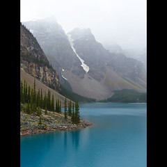 Moraine Lake (annkelliott) Tags: trees lake canada mountains nature water forest spectacular landscape lumix scenery turquoise explore alberta scree pointandshoot peaks breathtaking banffnationalpark morainelake valleyofthetenpeaks beautyinnature rockflour interestingness123 bridgecamera fz200 glaciallyfed dmcfz200 panasonicdmcfz200 explore2012september11 p1000273fz200