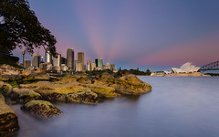 FANtastic (Rodney Campbell) Tags: city blue sky water sunrise operahouse harbourbridge gnd09