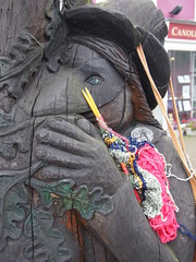 Tregaron Bandits Knitting (birdlouise) Tags: travel two art film wool public buses wales project still friend knitting craft photograph journey artists ceredigion tregaron