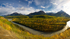 Mat-Su Bend 2 (Ed Boudreau) Tags: water clouds river fallcolors bluesky conifer alaskamountains scenicsnotjustlandscapes