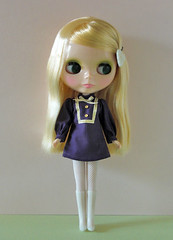 stand collar dress violet