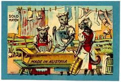 Feline Laundry (Alan Mays) Tags: old blue red cats green animals yellow socks vintage ads paper advertising austria sterreich clothing women antique barrels caps sheets ephemera clothes wash solo tables labels felines clotheslines matches advertisements printed washing bows props borders tails tubs clothespins drying anthropomorphism anthropomorphic manufacturers bonnets matchboxlabels troughs matchboxes laundries headcoverings mobcaps solomatch